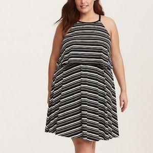 Adorable black and white stripe midi dress